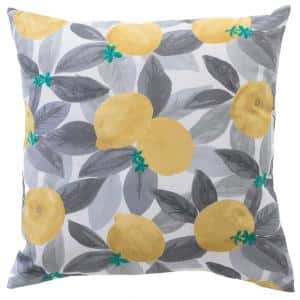 Stone Gray Lemons Square Outdoor Throw Pillow