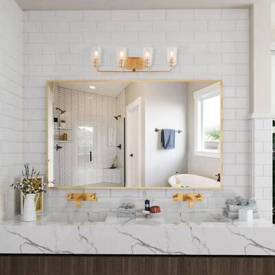 Modern Bathroom Vanity Light 4-Light Warm Brass Gold Bath Light Interior Bath Bar Light with Bell Seeded Glass Shades