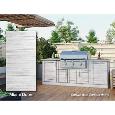 Miami Whitewash 14-Piece 91.25 in. x 34.5 in. x 28.5 in. Outdoor Kitchen Cabinet Island Set