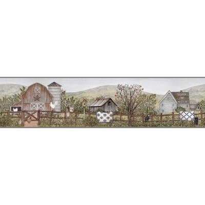 Clarksville Green Farm Green Wallpaper Border Sample