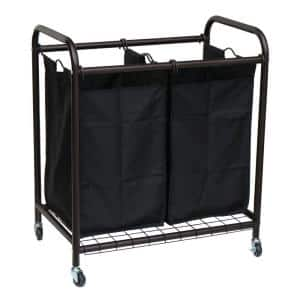 2-Bag Bronze Rolling Laundry Sorter