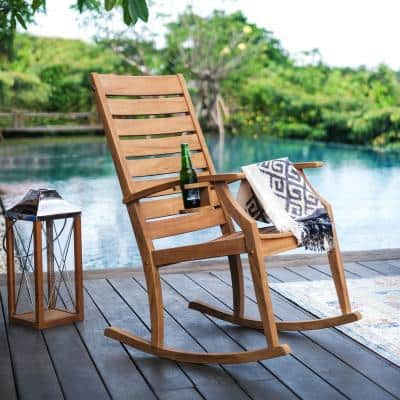 Logan Natural Teak Wood Outdoor Rocking Chair