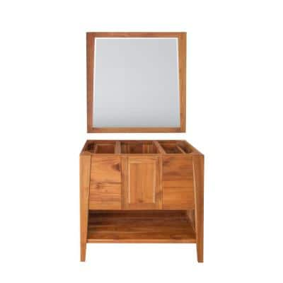 Significado 36 in. L Natural Teak Vanity Only With 36 in. L x 35 in. H Mirror