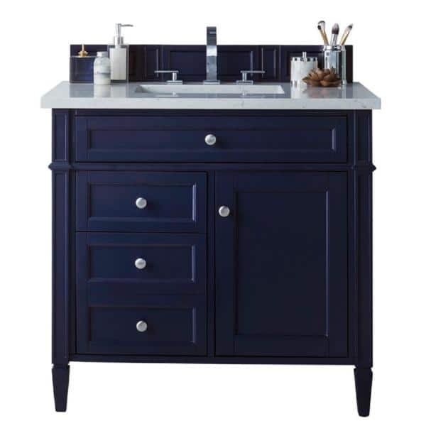 James Martin Vanities Brittany 36 In W Single Bath Vanity In Victory Blue With Quartz Vanity Top In Eternal Jasmine Pearl With White Basin 650 V36 Vbl 3ejp The Home Depot