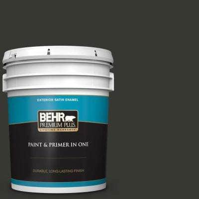 5 gal. #T13-3 Black Lacquer Satin Enamel Exterior Paint and Primer in One