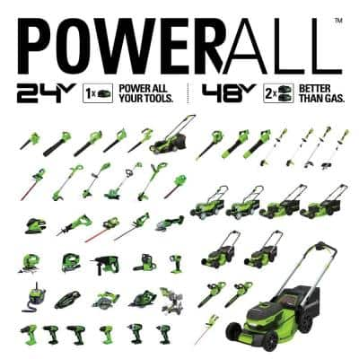 17 in. 48-Volt Battery Cordless Push Lawn Mower with (2) 4.0 Ah Batteries, Charger and 24-Volt Drill Included