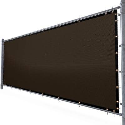 6 ft. H x 50 ft. W Brown Fence Outdoor Privacy Screen with Black Edge Bindings and Grommets