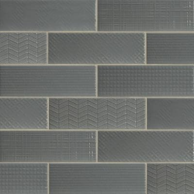 Citylights Graphite 3D Mix 4 in. x 12 in. Glossy Ceramic Gray Textured Subway Tile (9.9 sq. ft./case )
