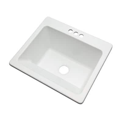 Kensington Drop-In Acrylic 25 in. 3-Hole Single Bowl Utility Sink in White