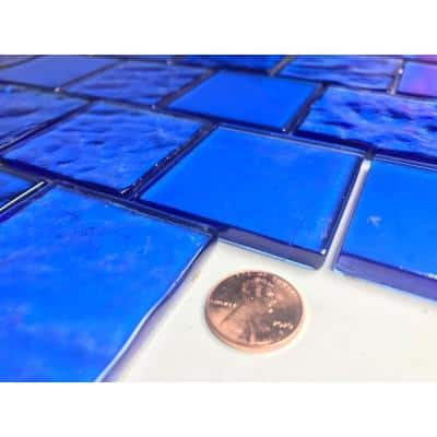 Landscape Mediterranean Blue Linear Mosaic 2 in. x 2 in. Textured Glass Pool Tile (12.48 sq. ft./Case)