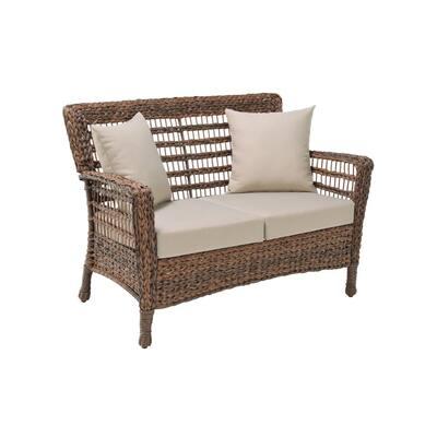 Modern Concept Series Outdoor Dark Brown 1-Piece Resin Rattan Wicker Patio Loveseat Chair with Beige Cushion