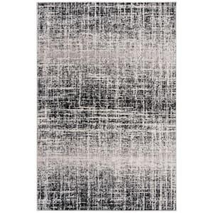Adirondack Ivory/Black 4 ft. x 6 ft. Solid Gradient Area Rug