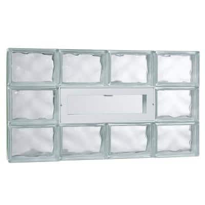 31 in. x 17.25 in. x 3.125 in. Wave Pattern Glass Block Masonry Window with Vent