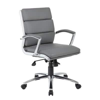 27 in. Width Big and Tall Gray Faux Leather Executive Chair with Swivel Seat