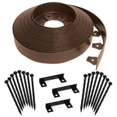 Tall Wall 60 ft. x 2.5 in. Brown Plastic No-Dig Landscape Edging Kit