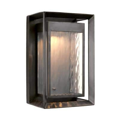 Urbandale 1-Light Antique Bronze Outdoor 16.25 in. Integrated LED Wall Lantern Sconce