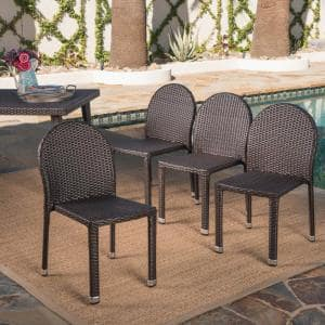 Aurora Multi-Brown Stacking Wood Outdoor Dining Chairs (4-Pack)