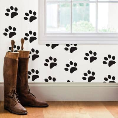 Black Paw Prints Wall Decal
