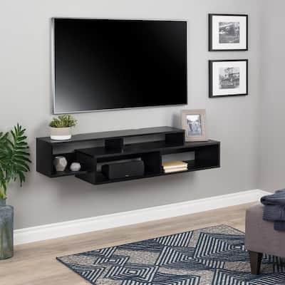 Modern Black Wall Mounted Media Console and Storage Shelf