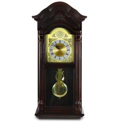 25.5 in. Antique Mahogany Cherry Oak Chiming Wall Clock with Roman Numerals