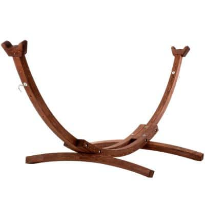 10 ft. Solid Pine Arc Hammock Stand in Brown