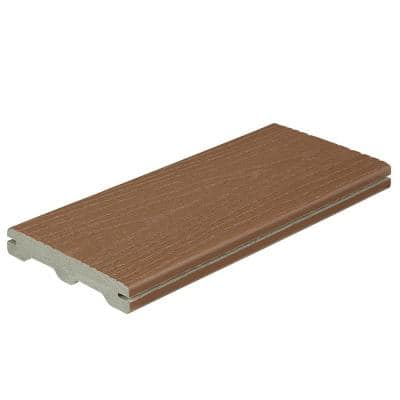 Good Life 1 in. x 5-1/4 in. x 1 ft. Cabin Grooved Edge Capped Composite Decking Board Sample