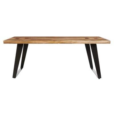 Cosbyrne 48 in. Natural Large Rectangle Wood Coffee Table with Metal Base
