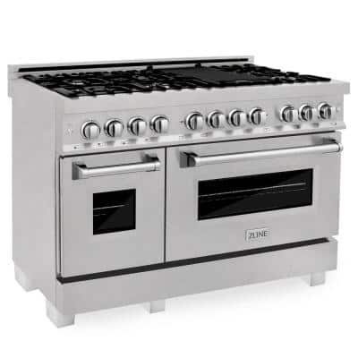 ZLINE 48 in. 6.0 cu. ft. Dual Fuel Range with Gas Stove and Electric Oven in DuraSnow Stainless Steel (RAS-SN-48)