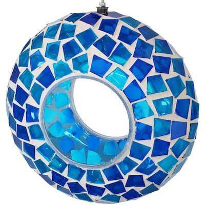 6 in. Blue Mosaic Fly-Through Hanging Outdoor Bird Feeder