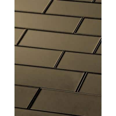 Forever Bronze Subway 3 in. x 12 in. Metallic Matte Glass Wall Tile (4-Pack)