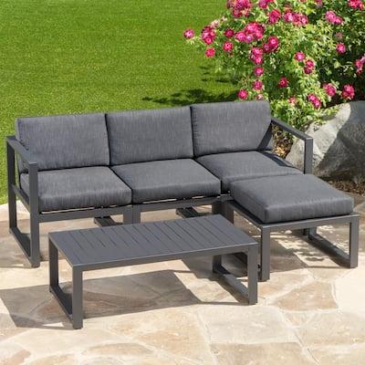 Navan Dark Grey 5-Piece Aluminum Outdoor Sectional Set with Black Cushions
