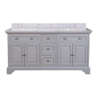 Sadie 67 in. W Dove Grey Double Bath Vanity with Natural White Marble Vanity Top with Undermount Sinks