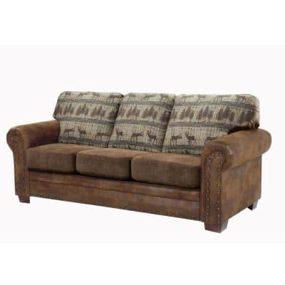 Deer Teal Lodge 88 in. W Round Arm Pinto Brown Microfiber Lodge Straight Sofa with Multi-Colored