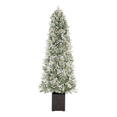 6.5 ft Starry Light Fraser Fir Potted Flocked LED Pre-Lit Artificial Christmas Tree with 150 Cool White Dome Lights