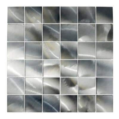 Luminescent Silver 12 in. x 12 in. Brushed Aluminum Mosaic Wall Tile Backsplash (9 sq. ft./Case)