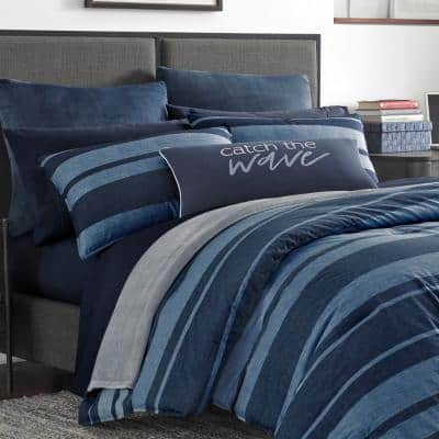Longpoint Navy Striped Cotton Comforter Set