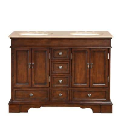 48 in. W x 22 in. D Vanity in Red Chestnut with Stone Vanity Top in Travertine with Ivory Basin