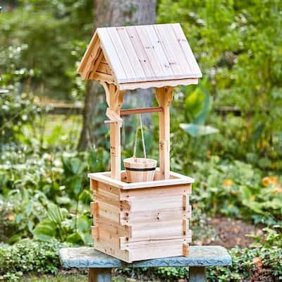 Natural Decorative Wood Wishing Well