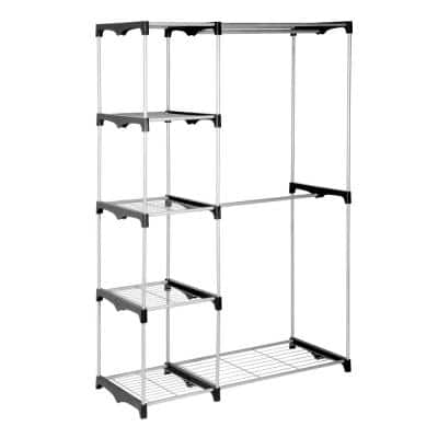 Silver Steel Clothes Rack 45.87 in. W x 67.72 in. H