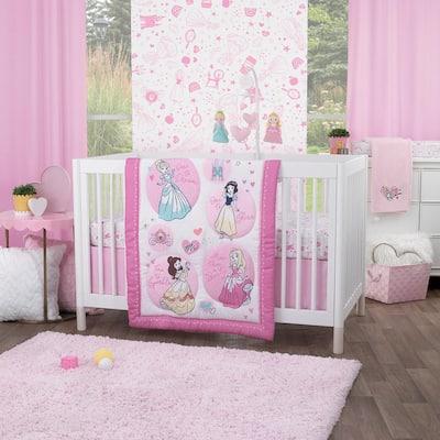 Princess Dare to Dream 3-Piece Nursery Crib Bedding Set (Comforter, Fitted Crib Sheet, and Crib Skirt)