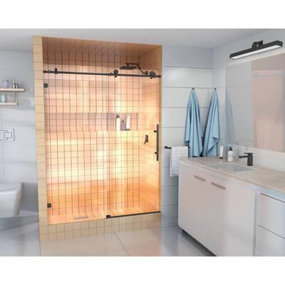 68 in. - 72 in. x 78 in. Frameless Sliding Shower Door in Matte Black with Handle