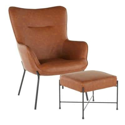 Izzy Black Lounge Chair with Ottoman in Camel Faux Leather