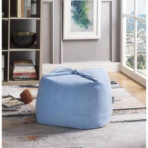 Magic Pouf Blue Microplush Bean Bag Chair Convertible Ottoman/Floor Pillow