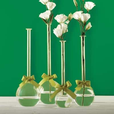 4-Sizes Sleek and Chic with Sage Green Ribbon Includes Clear Bubble Vases ( Set of 4)