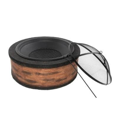 35 in. x 20.5 in. Round Cast Stone Wood Burning Fire Pit, Rustic Wood