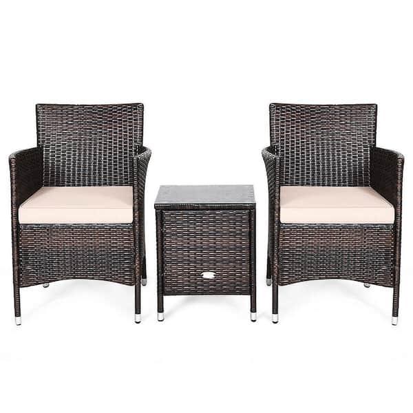 3 Piece Wicker Patio Conversation Set, 3 Piece Wicker Patio Conversation Set With Beige Cushions