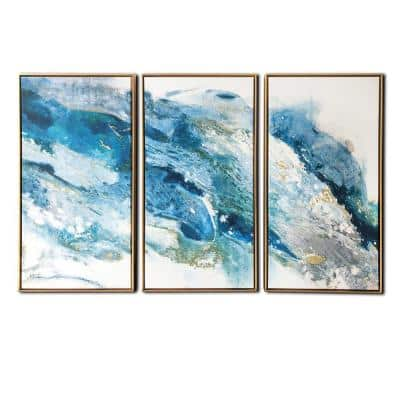 Regalite 3-Piece Floating Frame Abstract Canvas Modern Art Print 30 in. x 48 in.