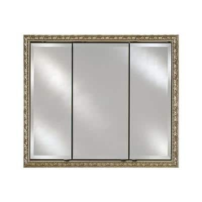 Signature Triple Door 44 in. x 30 in. Recessed or Optional Surface Mount Medicine Cabinet in Valencia Silver