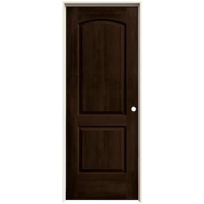 30 in. x 80 in. Continental Espresso Stain Left-Hand Molded Composite MDF Single Prehung Interior Door