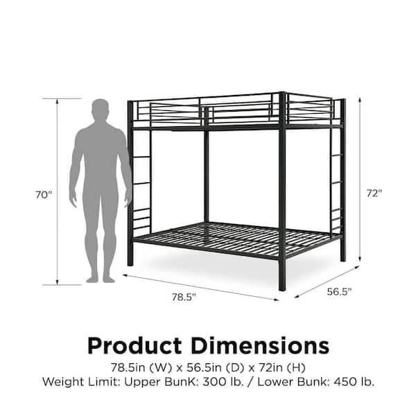Dhp Corey Full Over Full Metal Bunk Bed De97403 The Home Depot